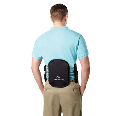 Back view of man Standing lady  Mobility Lumbar Brace around waist