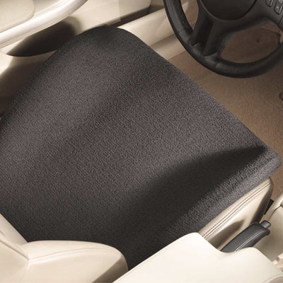 Black travelLite seat cushion above shot in driver seat of a car