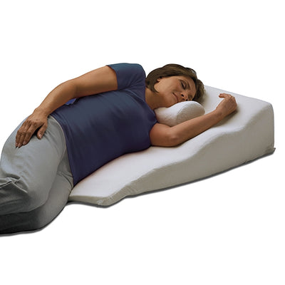 Women sleeping on her side using ContourSleep Side Sleeper Bed Wedge