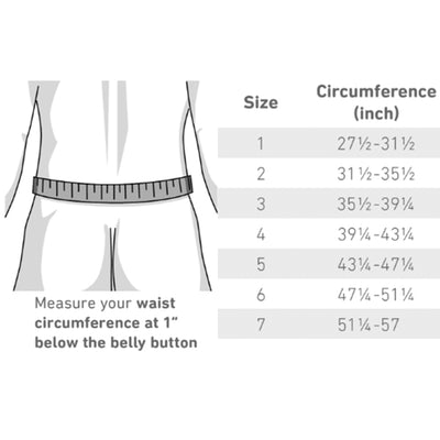 Determine the right size chart for the LumboTrain Back Brace
