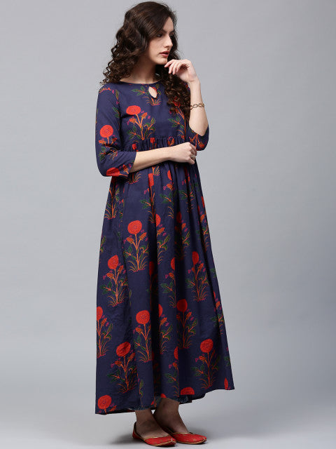 AKS Women Navy Blue & Orange Printed Anarkali Kurta