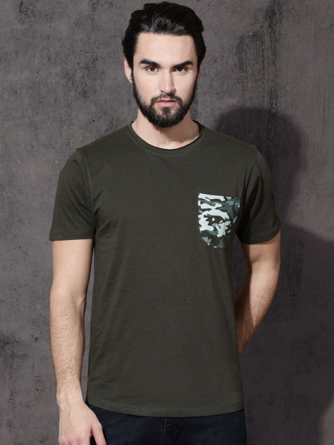 Roadster Men Charcoal Grey Solid Round Neck T-shirt