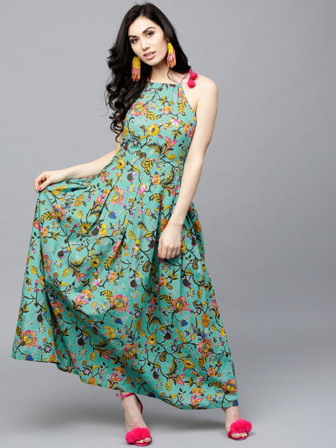 AKS Women Sea Green & Yellow Printed Maxi Dress