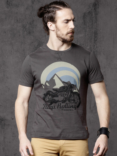 Roadster Time Travlr Men Charcoal Grey Printed Round Neck T-shirt