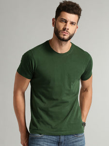 Roadster Men Green Solid Round Neck T-shirt