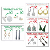 Magic BAX Earring Lifters - 2 Pairs of Adjustable Hypoallergenic Earring Lifts (Silver & 18K Gold Plated)