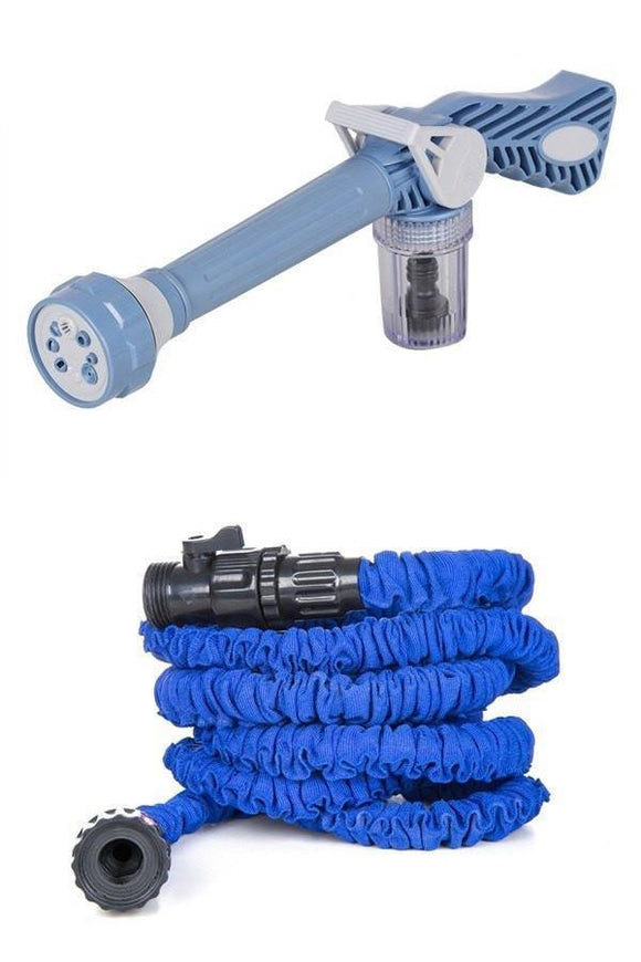 COMBO 10 METRE HOSE PIPE AND 7 IN 1 EZ CAR/BIKE/HOME WASHING SYSTEM