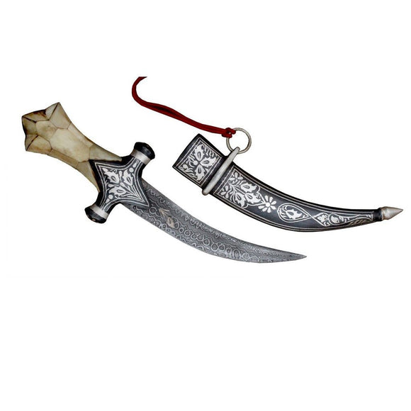 10″ Damascus Steel Knife Bone Hand Dagger With Silver Koftgiri Work