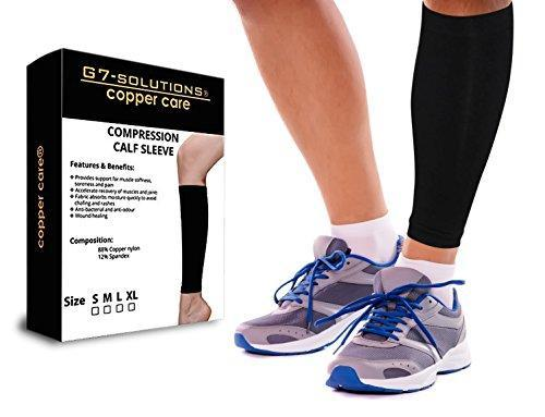 Copper Fit Calf Compression Sleeve - Regular Use/Gym/Office/Sports - For 2 Legs