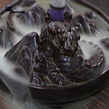 DRAGON STYLED WATERFALL POUND SMOKE BACKFLOW CONE INCENSE HOLDER DECORATIVE SHOWPIECE