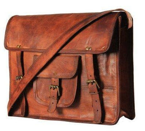 IN-INDIA Unisex Cross-Body Leather Messenger Satchel Crossbody Bag- Fits Laptop Upto 15Inches