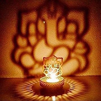 INDIAN SHADOW GANESH JI AND OM LIGHT HOLDER (WITH CANDLE)
