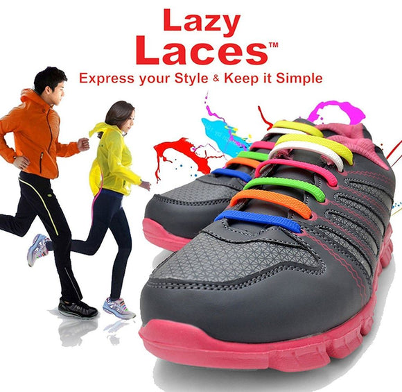 16PCS/Set Unisex No Tie Click On Silicone Shoe Lace (Fit All Sneakers and Shoe ) ( Change Shoes - Not The Laces)