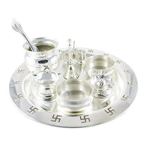 In Indea Silver Plated 9 Inch Silver Plated Swastik Pooja Thali Set