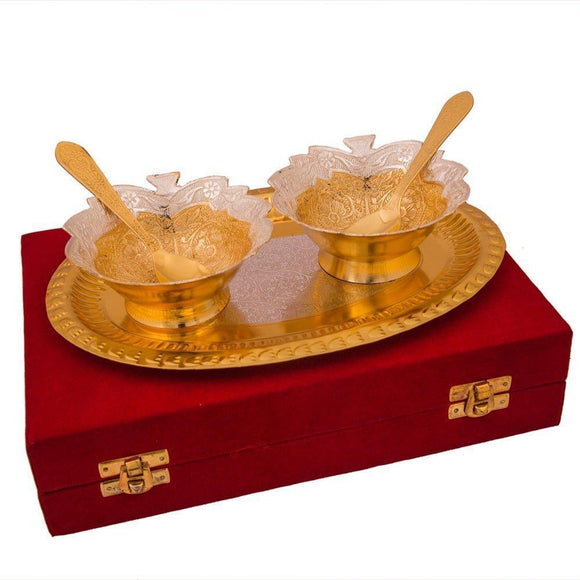 Traditional Design Silver And Gold Plated Bowl Set With Tray