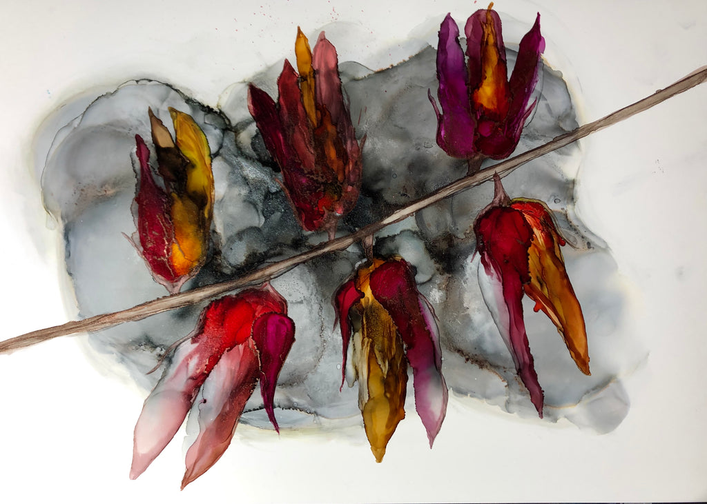 Abstract floral alcohol ink painting \u0027Fire flowers
