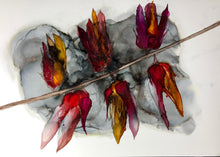 Load image into Gallery viewer, Abstract floral alcohol ink painting 'Fire flowers'. - Aesthetic Alchemy Art