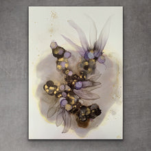 Load image into Gallery viewer, 'Dancing in the Shadows II', large alcohol ink painting with flowers. Floral abstract art in black, gold and purple. - Aesthetic Alchemy Art