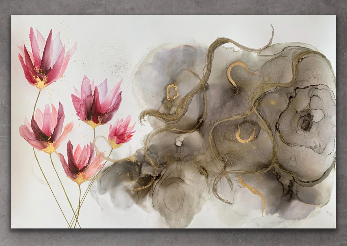 'The Tempest', large alcohol ink painting with flower. Floral abstract art. - Aesthetic Alchemy Art
