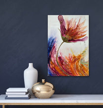 Load image into Gallery viewer, 'Swept Away'. Original alcohol ink painting on wood / Alcohol ink art with flowers / Floral abstract art. - Aesthetic Alchemy Art