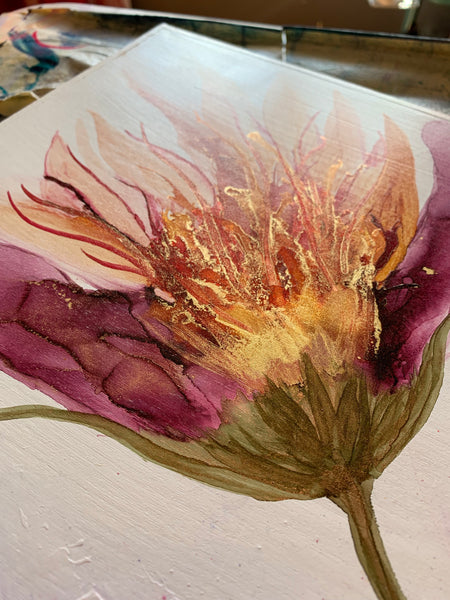 Original alcohol ink painting on wood / Alcohol ink art with flowers / Floral abstract art. - Aesthetic Alchemy Art