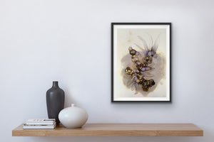 'Dancing in the Shadows II', large alcohol ink painting with flowers. Floral abstract art in black, gold and purple. - Aesthetic Alchemy Art