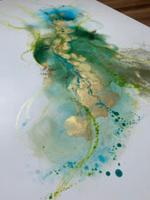 Load image into Gallery viewer, 'The Estuary' - Original abstract painting in blues, green and gold.