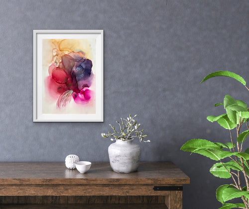 Abstract alcohol ink painting 'Joyous' - Aesthetic Alchemy Art