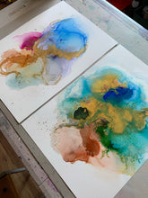 Load image into Gallery viewer, 'Playful I' abstract alcohol ink painting. Mixed media art. - Aesthetic Alchemy Art