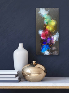 Abstract alcohol ink painting with gold. Mini painting on canvas. - Aesthetic Alchemy Art