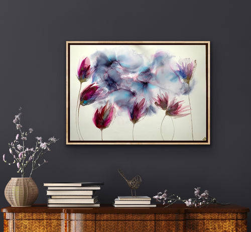 'Eye of the Storm' -Original alcohol ink artwork with pink flowers.