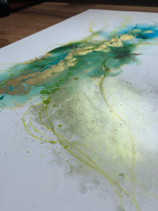 'The Estuary' - Original abstract painting in blues, green and gold.
