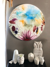 Load image into Gallery viewer, 'Through a looking Glass'. Large round alcohol ink painting on canvas. - Aesthetic Alchemy Art