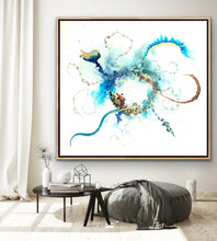 Load image into Gallery viewer, 'In the Beginning' - Extra large abstract artwork in blues, copper and gold. Large wall art.