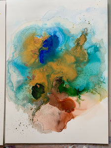 'Playful I' abstract alcohol ink painting. Mixed media art. - Aesthetic Alchemy Art