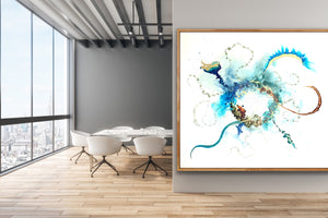 'In the Beginning' - Extra large abstract artwork in blues, copper and gold. Large wall art.