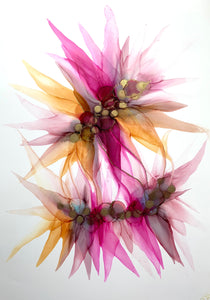 'Intertwined' - Original floral painting in pink, purple and yellow.