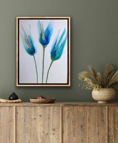 Floral alcohol ink art poster. Abstract alcohol ink poster print with flower.