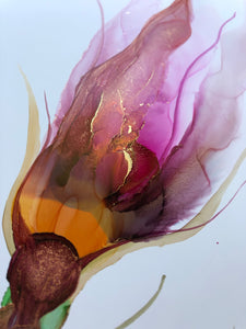 Floral abstract alcohol ink painting 'Little Quirks I' - Aesthetic Alchemy Art
