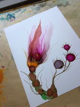 Load image into Gallery viewer, Floral abstract alcohol ink painting 'Little Quirks I' - Aesthetic Alchemy Art