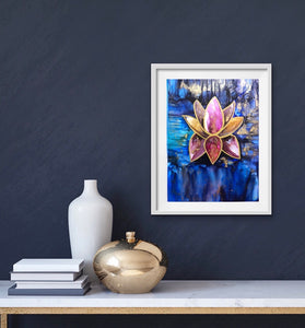 Original alcohol ink lotus painting. - Aesthetic Alchemy Art