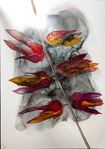 Abstract floral alcohol ink painting 'Fire flowers'. - Aesthetic Alchemy Art