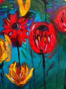 Abstract painting on canvas | Floral artwork - Aesthetic Alchemy Art