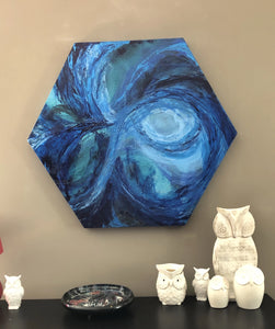 Abstract painting on hexagonal canvas | Blue abstract art. - Aesthetic Alchemy Art