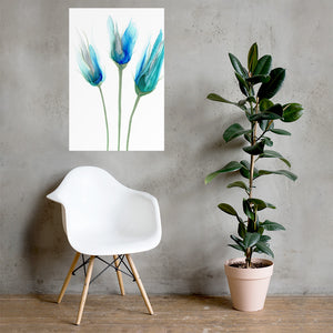 Alcohol ink poster prints in various sizes | Abstract art print with blue flowers - Aesthetic Alchemy Art