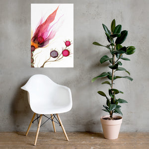 Alcohol ink poster prints in various sizes | Abstract art print with quirky flowers - Aesthetic Alchemy Art