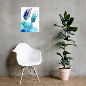 Floral alcohol ink art poster. Abstract alcohol ink poster print with flower. - Aesthetic Alchemy Art