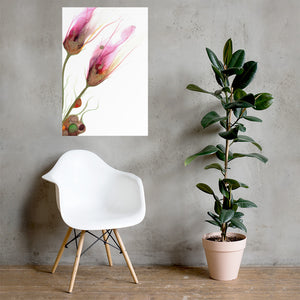 Alcohol ink poster prints in various sizes | Abstract art print with quirky flowers. - Aesthetic Alchemy Art