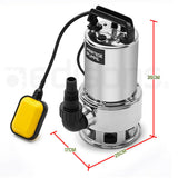 24,000L/H 2000W Submersible Dirty Water Pump Bore Tank Well Steel Automatic