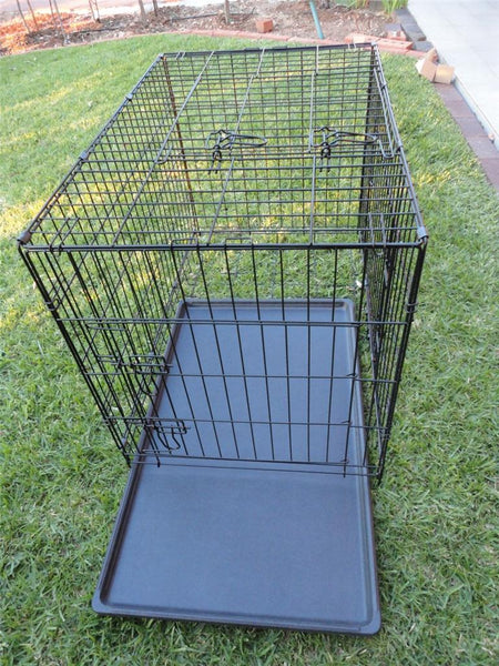 30 inch 75cm Collapsible 2 Doors Pet Dog Puppy Crate Cage Tray